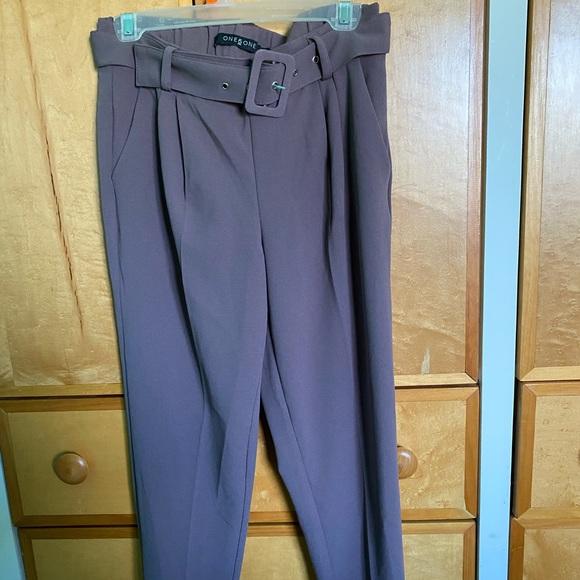 High waisted purple trousers